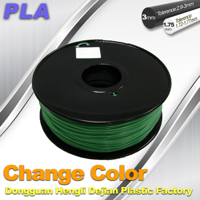 1.75 / 3.0mm 3D Printing PLA Filament , Color Changing Filament  Blue Green to Yellow Green